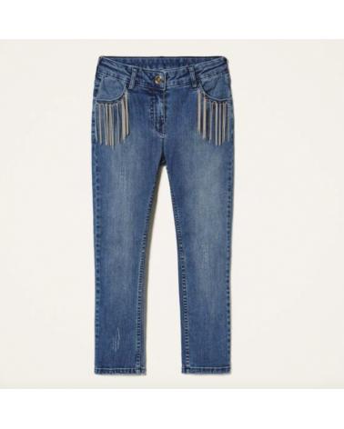 jeans da ragazza con frange...