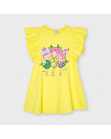 Vestito giallo con disegno...