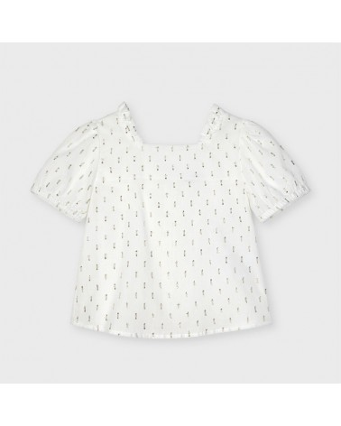 Blusa plumetis bianco da...