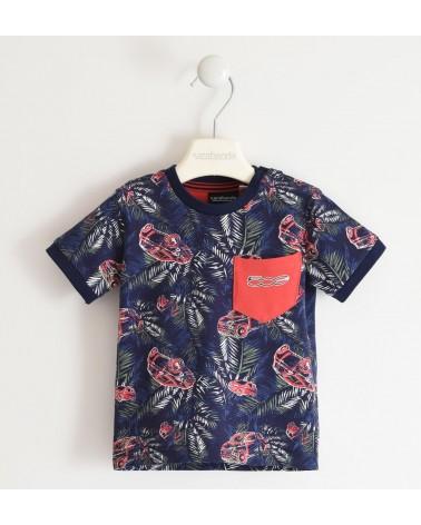 T-shirt in jersey blu con...