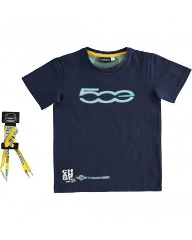 T-shirt in cotone blu con...