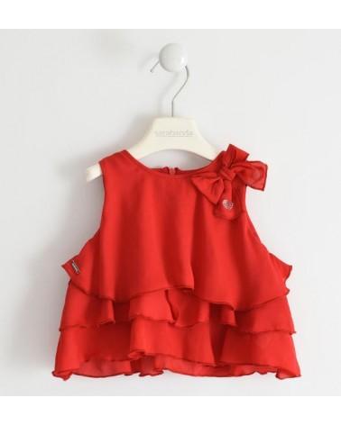 Camicia smanicata rosso con...