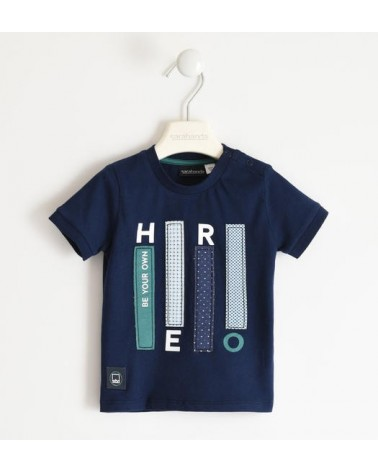 T-shirt blu con scritta...