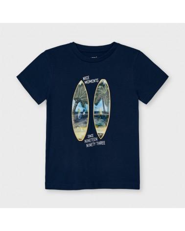 Maglietta blu con disegno...