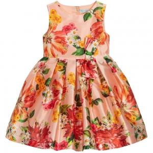 vestito da ragazza albicocca con stampa fiori e apertura schiena abel e luba